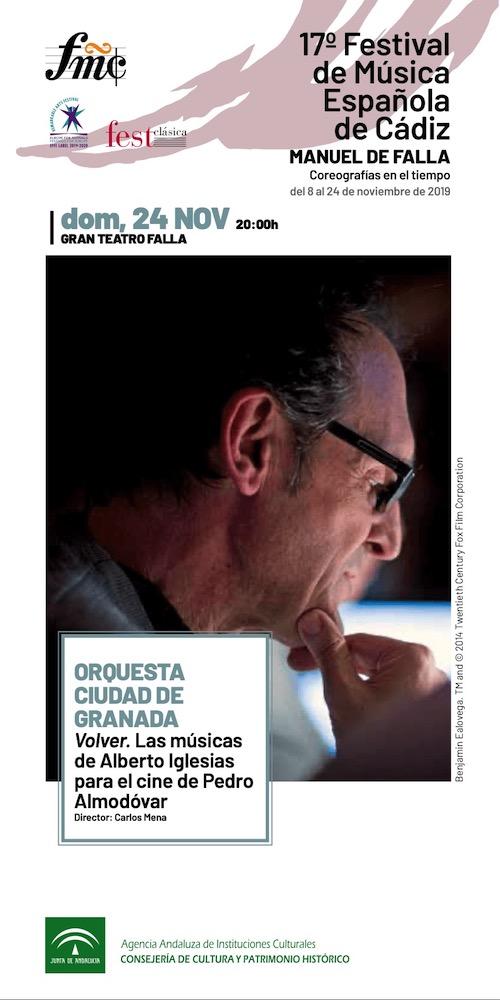 Alberto Iglesias cerrará el XVII Festival de Música Española de Cádiz